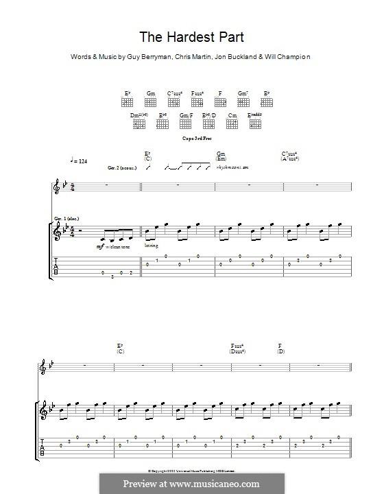 The Hardest Part (Coldplay): Гитарная табулатура by Chris Martin, Guy Berryman, Jonny Buckland, Will Champion