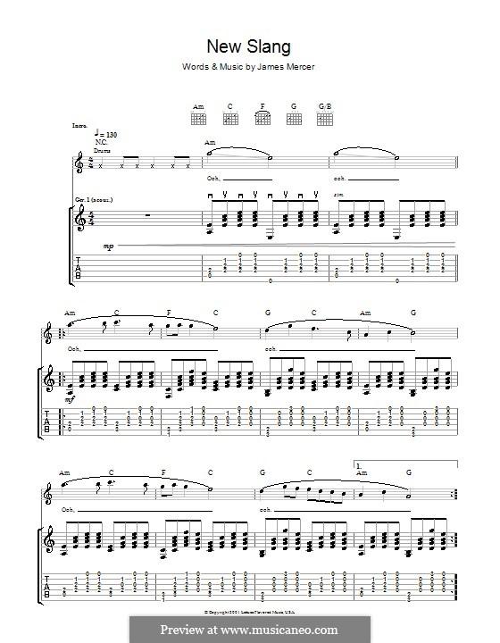 New Slang (The Shins): Для гитары с табулатурой by James Mercer