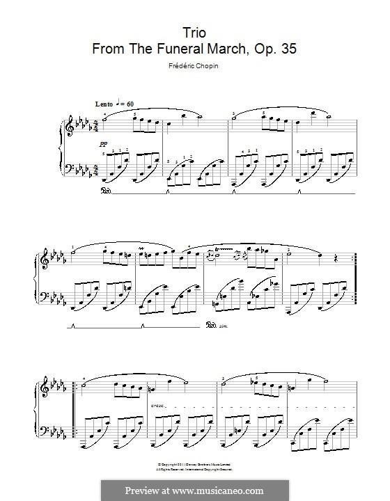 Соната для фортепиано No.2 си-бемоль минор, Op.35: Часть III (Trio), for easy piano by Фредерик Шопен