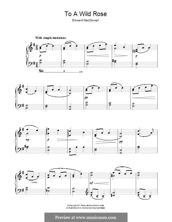 No.1 К дикой розе: Для фортепиано (легкий уровень) by Эдвард Макдоуэлл