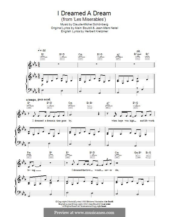 I Dreamed a Dream: Для голоса и фортепиано или гитары (Susan Boyle) by Claude-Michel Schönberg