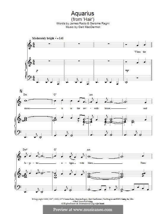 Aquarius (from Hair): Для голоса и фортепиано (или гитары) by Galt MacDermot