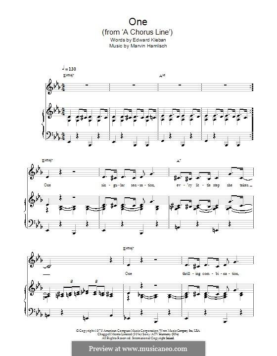 One (from A Chorus Line): Для голоса и фортепиано (или гитары) by Marvin Hamlisch