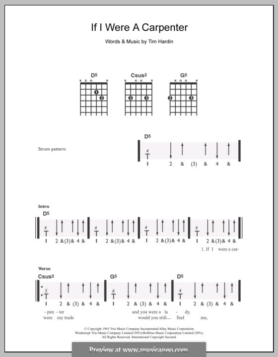 If I Were a Carpenter: Для гитары by Tim Hardin