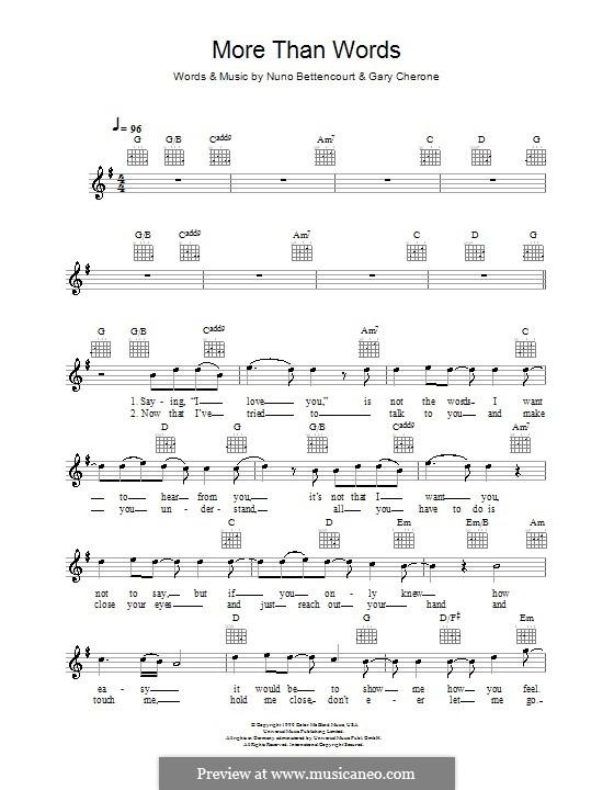 More Than Words (Extreme): Мелодия, текст и аккорды by Gary Cherone, Nuno Bettencourt
