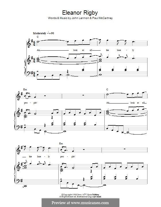 Eleanor Rigby (The Beatles): Для голоса и фортепиано или гитары by John Lennon, Paul McCartney