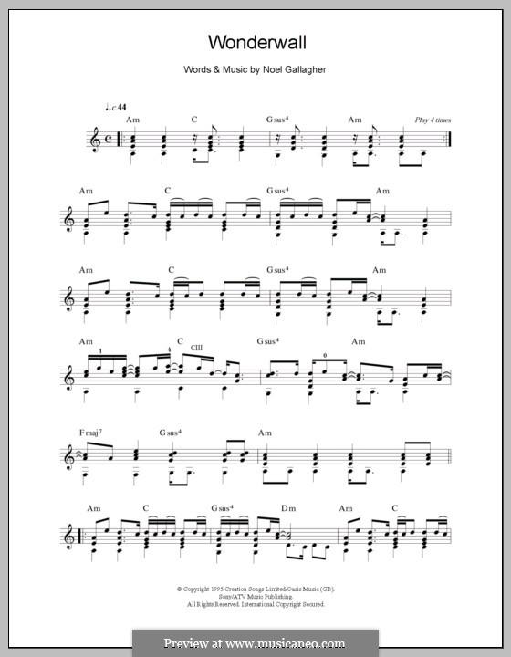 Wonderwall (Oasis): Для гитары by Noel Gallagher