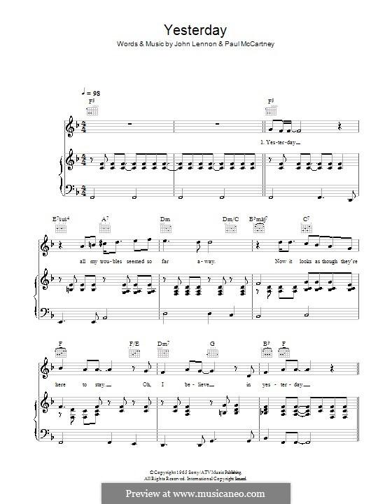 Yesterday (The Beatles): Для голоса и фортепиано или гитары (фа мажор) by John Lennon, Paul McCartney