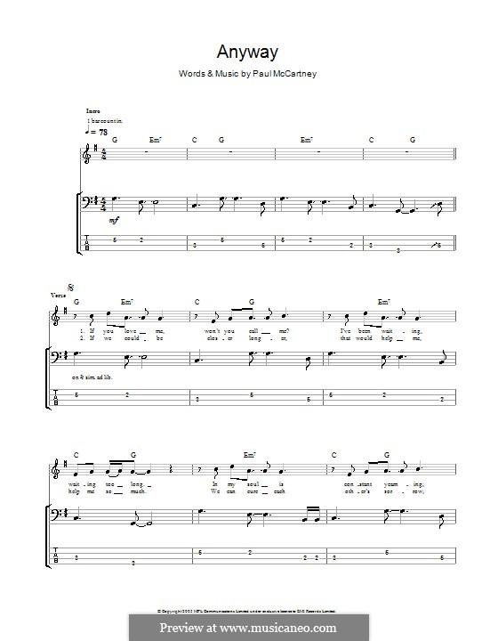 Anyway: Для бас-гитары с табулатурой by Paul McCartney