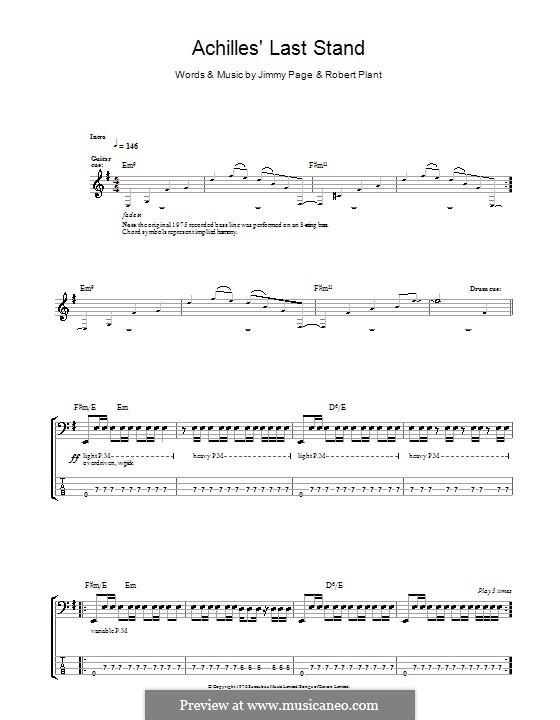 Achilles Last Stand (Led Zeppelin): Для бас-гитары с табулатурой by Jimmy Page, Robert Plant