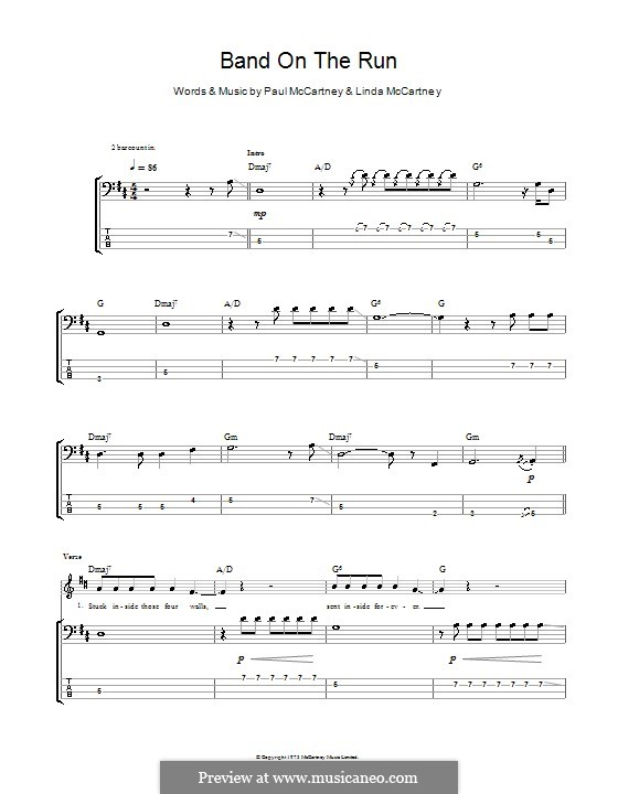 Band on the Run (Wings): Для бас-гитары с табулатурой by Linda McCartney, Paul McCartney