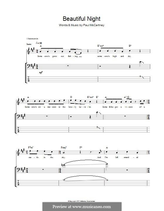 Beautiful Night: Для бас-гитары с табулатурой by Paul McCartney