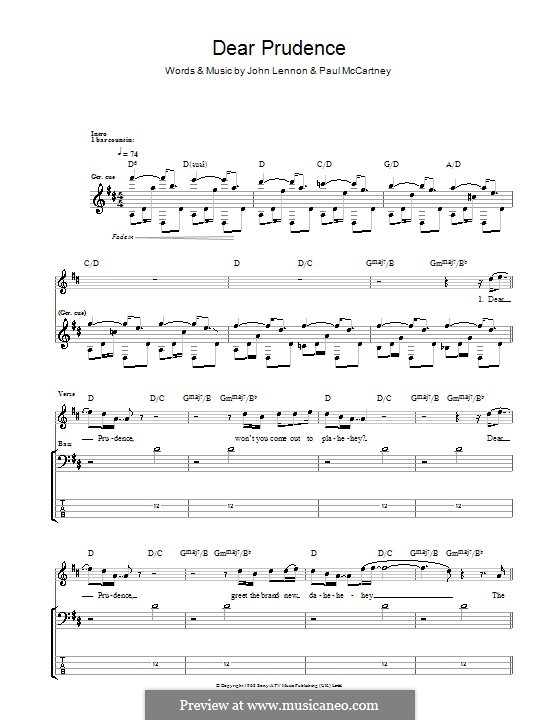 Dear Prudence (The Beatles): Для бас-гитары с табулатурой by John Lennon, Paul McCartney