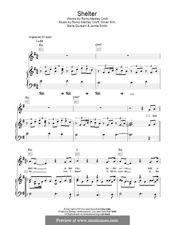 Shelter (The XX): Для голоса и фортепиано (или гитары) by Baria Qureshi, Jamie Smith, Oliver Sim, Romy Madley Croft