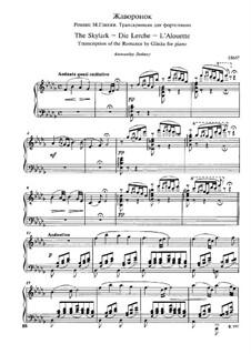Прощание с Петрбургом : No.10 Жаворонок для фортепиано by Михаил Глинка
