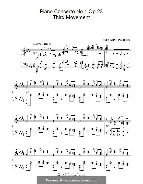 Концерт для фортепиано с оркестром No.1 си-бемоль минор, TH 55 Op.23: Часть III. Переложение для фортепиано by Петр Чайковский