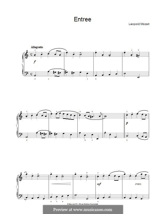 Entrée: Для фортепиано by Леопольд Моцарт