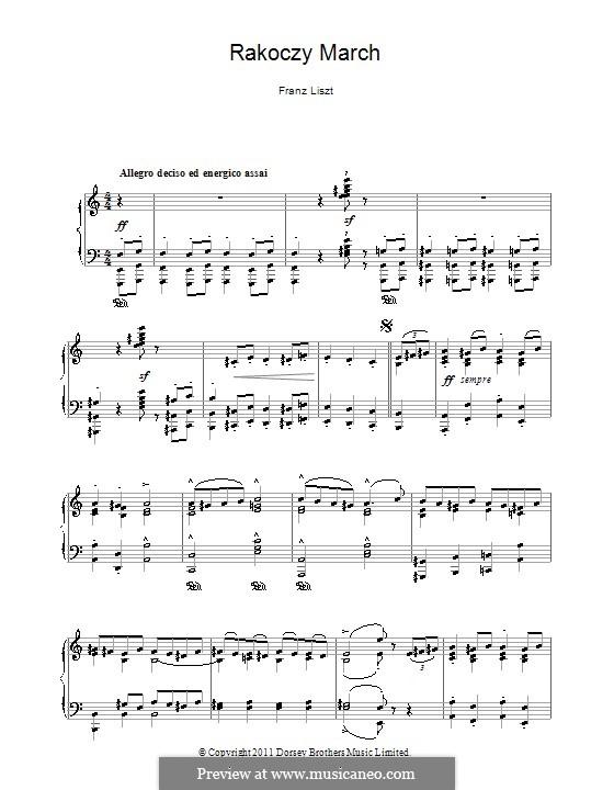 Rákóczi March, S.244c: Для фортепиано by Франц Лист