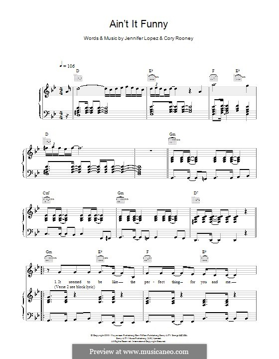 Ain't It Funny: Для голоса и фортепиано by Cory Rooney, Jennifer Lopez