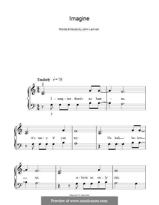 Imagine, for Piano: Легкая версия для фортепиано (with lyrics) by John Lennon