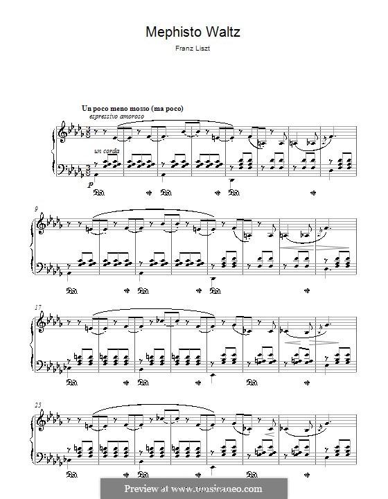 Вальс No.1 ля мажор 'Танец в сельском шинке', для фортепиано, S.514: Фрагмент by Франц Лист