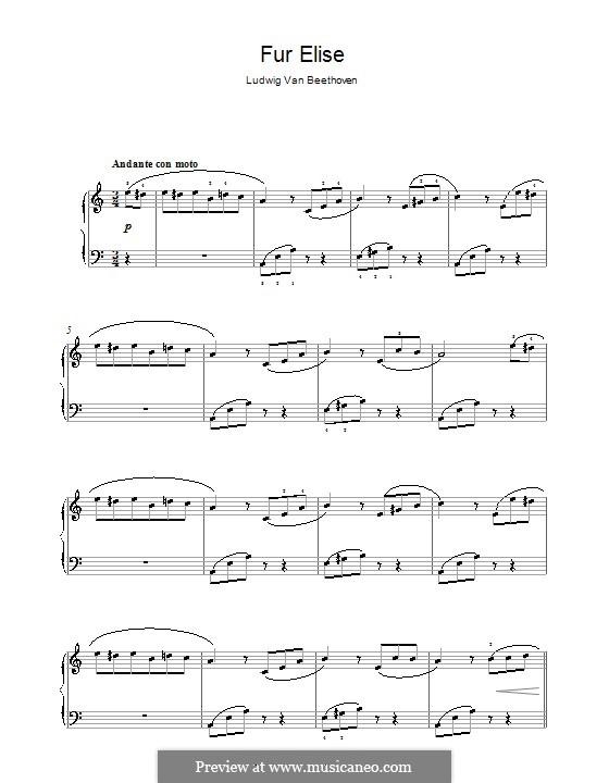 К Элизе, для фортепиано, WoO 59: Тема by Людвиг ван Бетховен