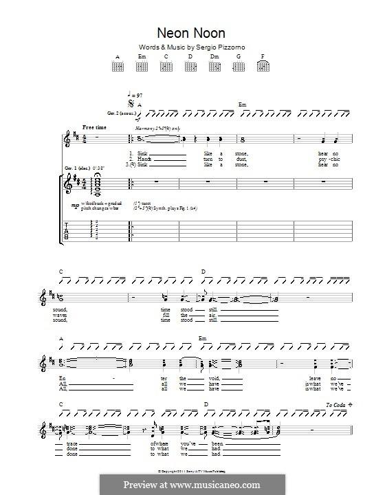 Neon Noon (Kasabian): Для гитары с табулатурой by Sergio Pizzorno