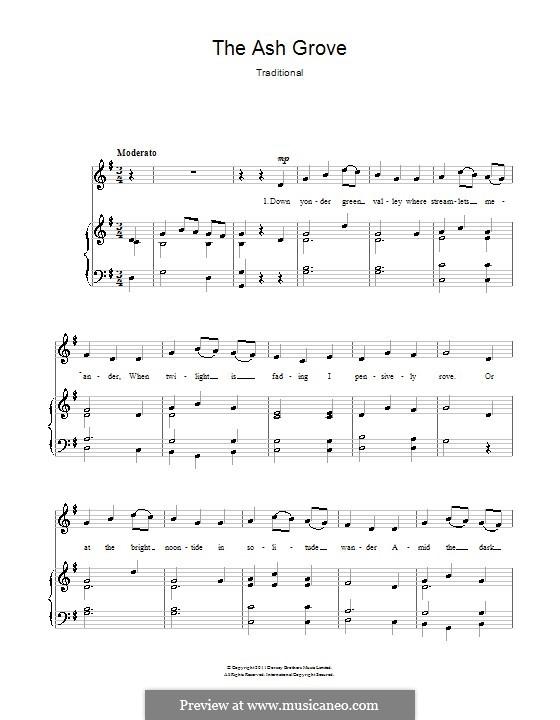 The Ash Grove: Для голоса и фортепиано by folklore