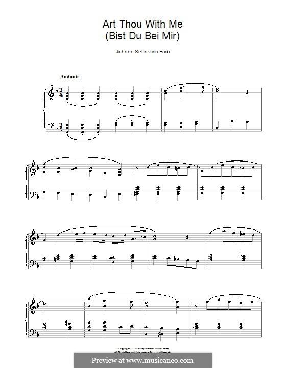 No.25 Bist du bei mir (You Are with Me), Printable scores: Для фортепиано (фа мажор) by Иоганн Себастьян Бах