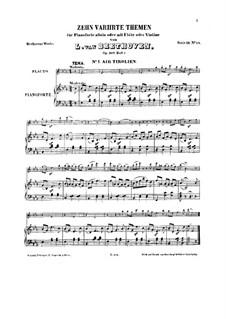 Десять тем с вариациями для флейты (или скрипки) и фортепиано, Op.107: Книга I by Людвиг ван Бетховен