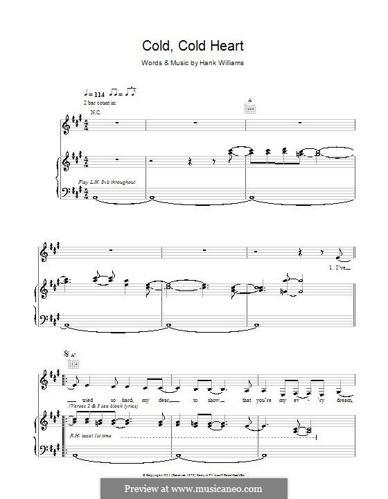 Cold, Cold Heart: Для голоса и фортепиано (или гитары) by Hank Williams