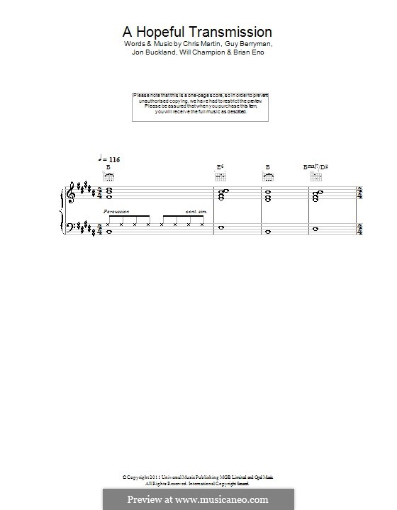 A Hopeful Transmission (Coldplay): Для голоса и фортепиано или гитары by Brian Eno, Chris Martin, Guy Berryman, Jonny Buckland, Will Champion