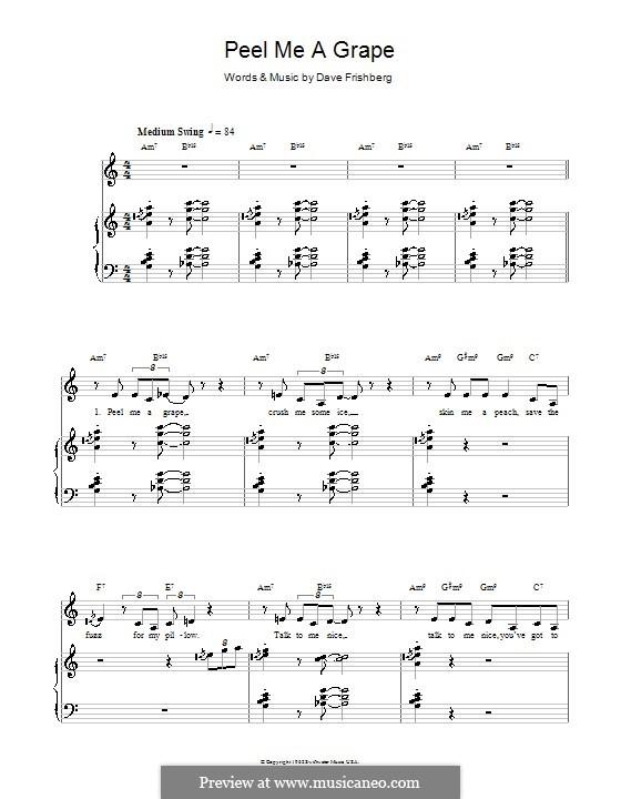 Peel Me a Grape (Diana Krall): Для голоса и фортепиано (или гитары) by Dave Frishberg