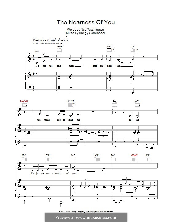 The Nearness of You: Для голоса и фортепиано или гитары (Norah Jones) by Hoagy Carmichael