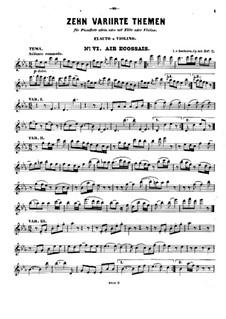 Десять тем с вариациями для флейты (или скрипки) и фортепиано, Op.107: Тетрадь II No.6-10 – сольная партия by Людвиг ван Бетховен
