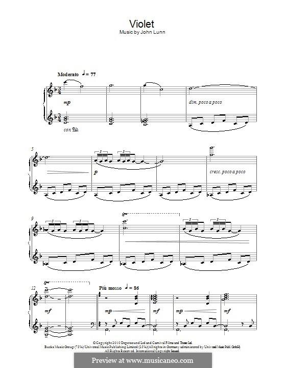 Violet: Для фортепиано by John Lunn