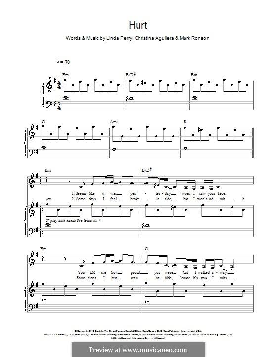 Hurt: Для голоса и фортепиано (или гитары) by Christina Aguilera, Linda Perry, Mark Ronson