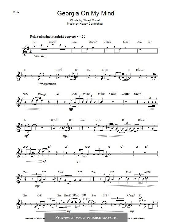 Georgia on My Mind: Для флейты (Ray Charles) by Hoagy Carmichael