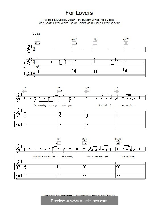 For Lovers (Wolfman feat. Pete Doherty): Для голоса и фортепиано (или гитары) by David Banks, Jake Fior, Julian Taylor, Maff Scott, Matt White, Ned Scott, Pete Doherty, Peter Wolfe