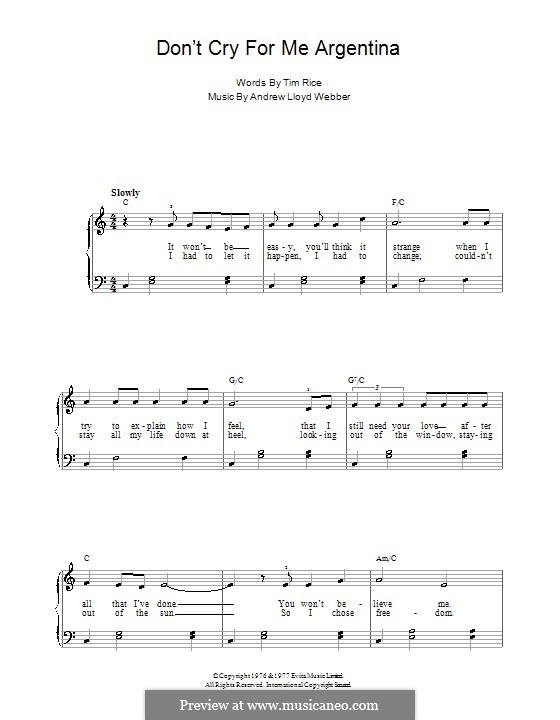 Don't Cry for Me Argentina: Для начинающего пианиста (до мажор) by Andrew Lloyd Webber