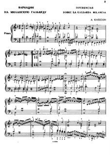 Вариации на миланскую гальярду: Вариации на миланскую гальярду by Антонио де Кабесон