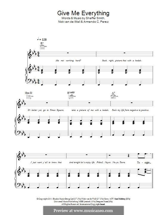 Give Me Everything (Tonight): Для голоса и фортепиано или гитары (Pitbull featuring Ne-Yo) by Pitbull, Nick van de Wall, Ne-Yo