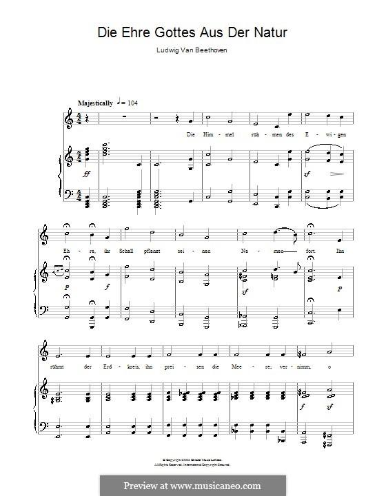 Шесть песен на стихи Геллера, Op.48: No.4 Прославление Бога природой by Людвиг ван Бетховен