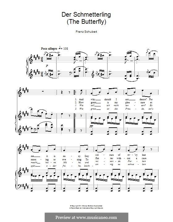 Der Schmetterling (The Butterfly), D.633 Op.57 No.1: Клавир с вокальной партией by Франц Шуберт