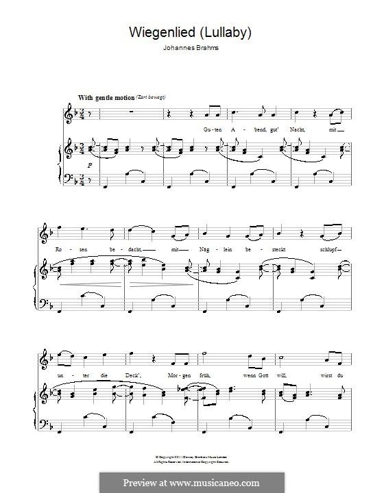 No.4 Колыбельная: Для голоса и фортепиано by Иоганнес Брамс