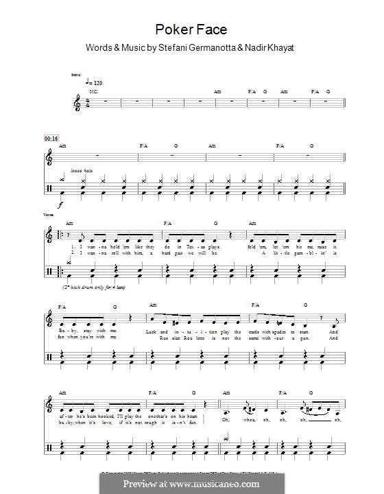 Poker Face (Lady Gaga): For drums (Glee Cast) by RedOne, Stefani Germanotta