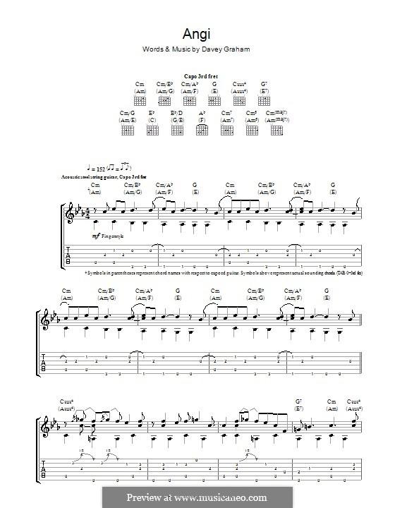 Angi: Гитарная табулатура by Davey Graham