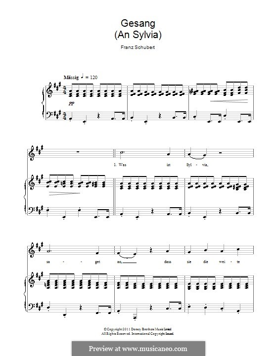 К Сильвии, D.891 Op.106 No.4: Клавир с вокальной партией by Франц Шуберт