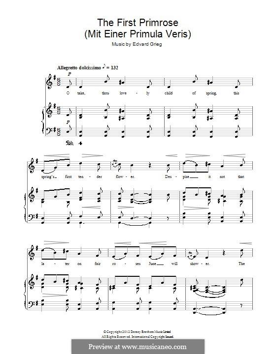 Пять стихотворений, Op.26: No.4 Mit einer primula veri (The First Primrose) by Эдвард Григ