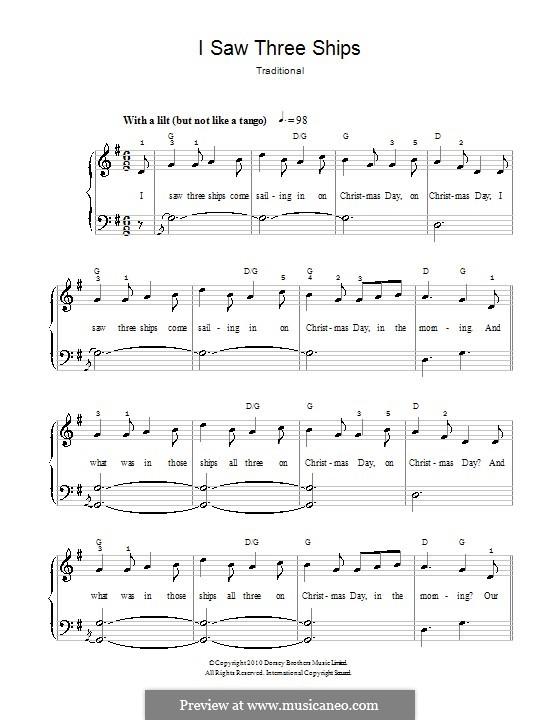 I Saw Three Ships: Для фортепиано (легкий уровень, с аппликатурой) by folklore